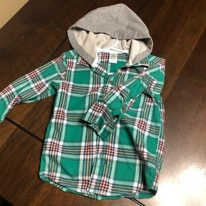 Like new! Carter's 2T hooded flannel button up.